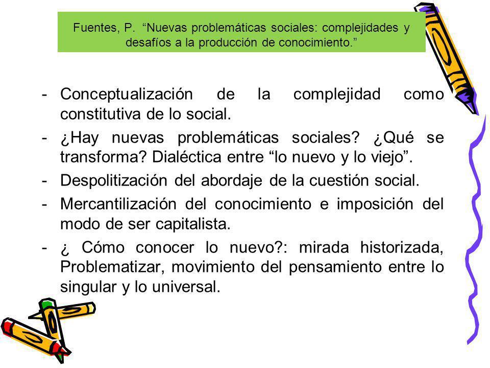 Fuentes, P. Nuevas problemáticas sociales: complejidades y desafíos a la producción de conocimiento. -Conceptualización de la complejidad como constit