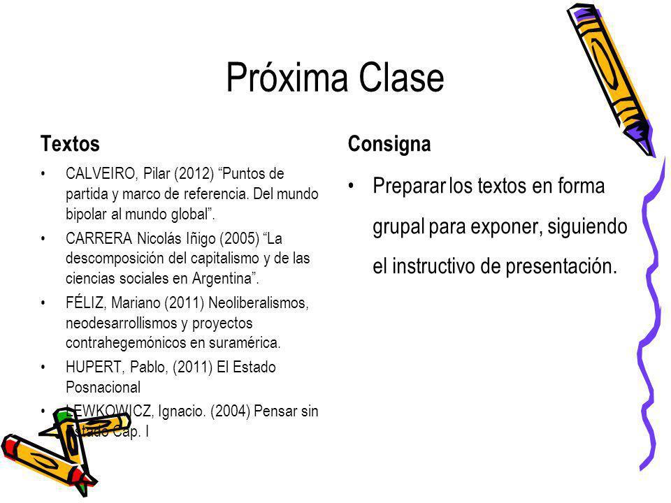 Próxima Clase Textos CALVEIRO, Pilar (2012) Puntos de partida y marco de referencia. Del mundo bipolar al mundo global. CARRERA Nicolás Iñigo (2005) L