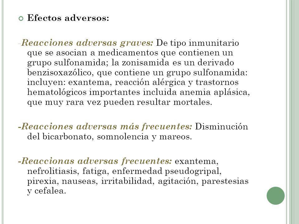 Efectos adversos: - Reacciones adversas graves: De tipo inmunitario que se asocian a medicamentos que contienen un grupo sulfonamida; la zonisamida es