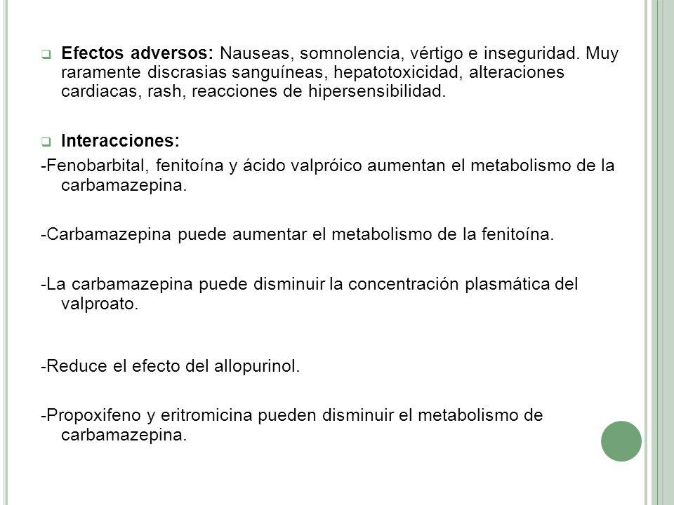 Efectos adversos: Nauseas, somnolencia, vértigo e inseguridad. Muy raramente discrasias sanguíneas, hepatotoxicidad, alteraciones cardiacas, rash, rea