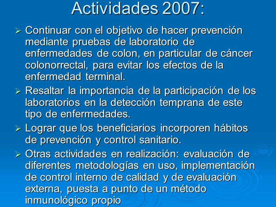 Actividades 2007: Continuar con el objetivo de hacer prevención mediante pruebas de laboratorio de enfermedades de colon, en particular de cáncer colo