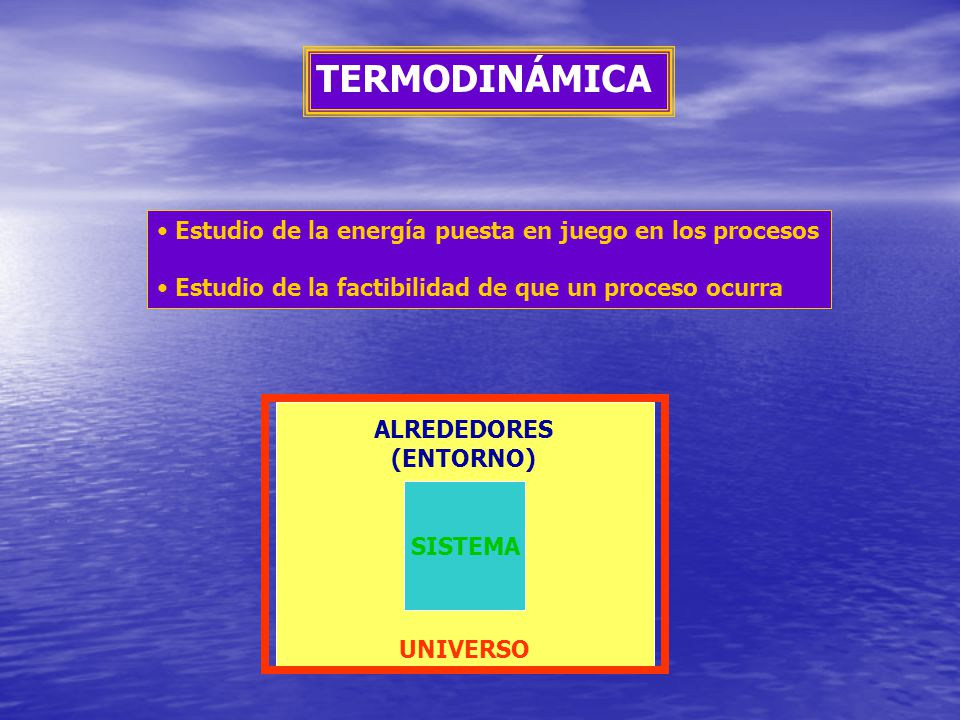 TERMODINÁMICA Estudio de la energía puesta en juego en los procesos Estudio de la factibilidad de que un proceso ocurra ALREDEDORES (ENTORNO) SISTEMA