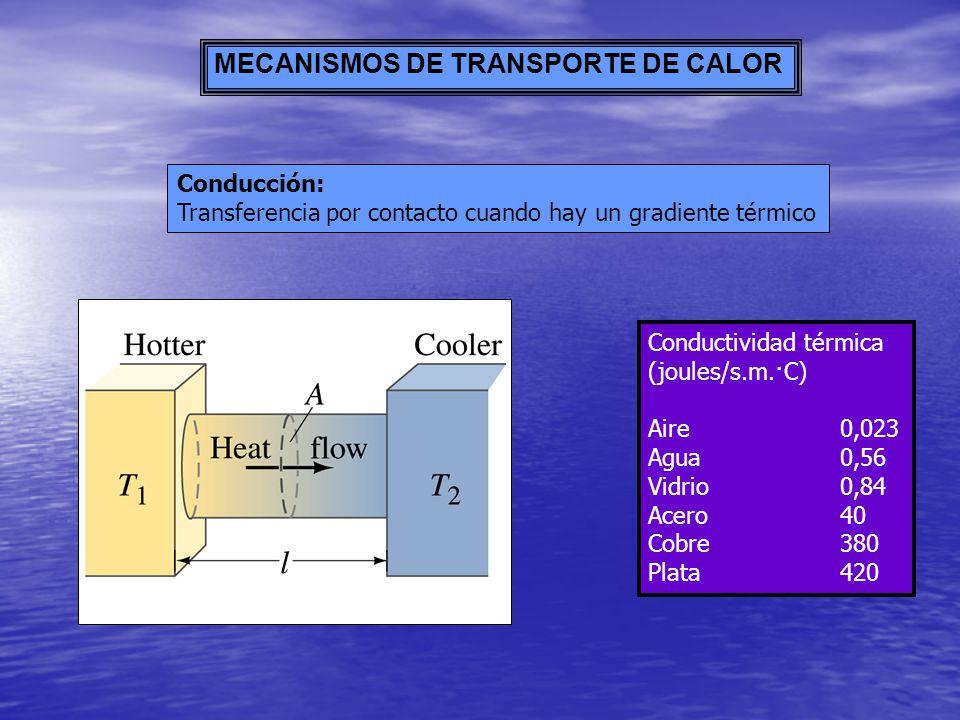 MECANISMOS DE TRANSPORTE DE CALOR Conducción: Transferencia por contacto cuando hay un gradiente térmico Conductividad térmica (joules/s.m.·C) Aire0,0