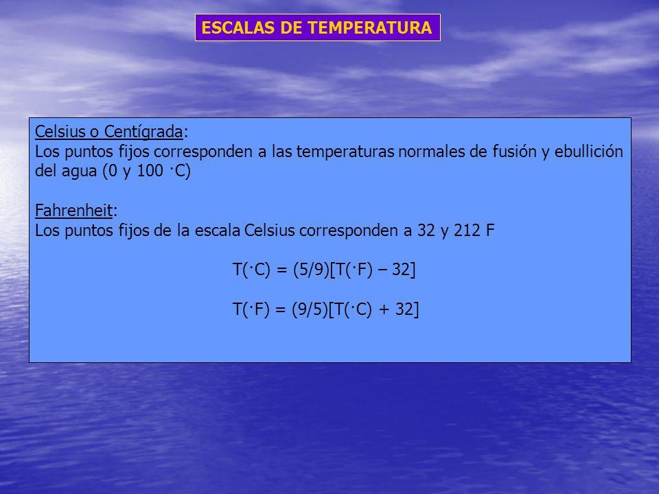 ESCALAS DE TEMPERATURA Celsius o Centígrada: Los puntos fijos corresponden a las temperaturas normales de fusión y ebullición del agua (0 y 100 ·C) Fa