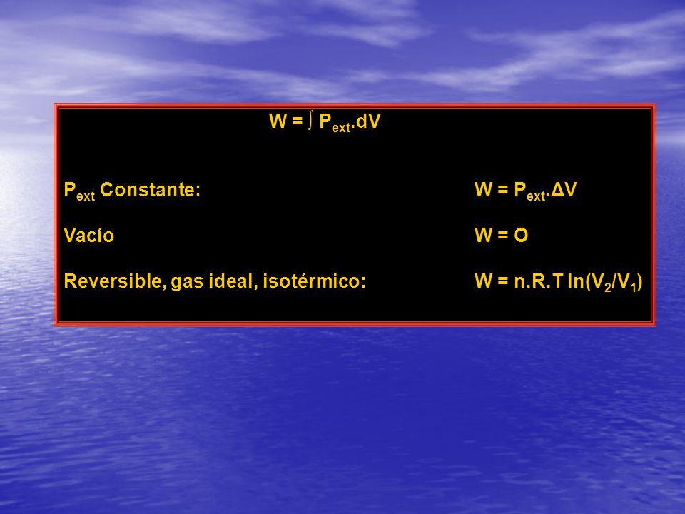 W = P ext.dV P ext Constante: W = P ext.ΔV VacíoW = O Reversible, gas ideal, isotérmico:W = n.R.T ln(V 2 /V 1 )