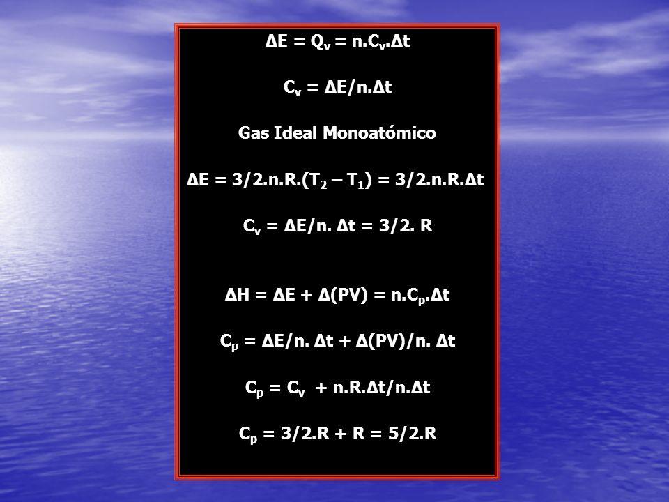 ΔE = Q v = n.C v.Δt C v = ΔE/n.Δt Gas Ideal Monoatómico ΔE = 3/2.n.R.(T 2 – T 1 ) = 3/2.n.R.Δt C v = ΔE/n. Δt = 3/2. R ΔH = ΔE + Δ(PV) = n.C p.Δt C p
