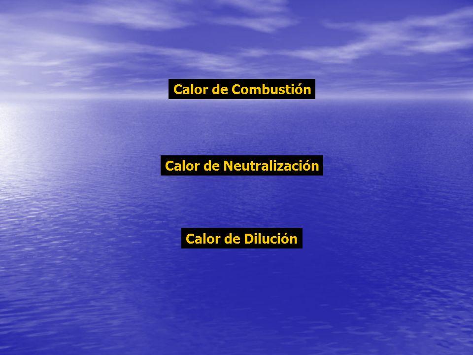 Calor de Combustión Calor de Neutralización Calor de Dilución