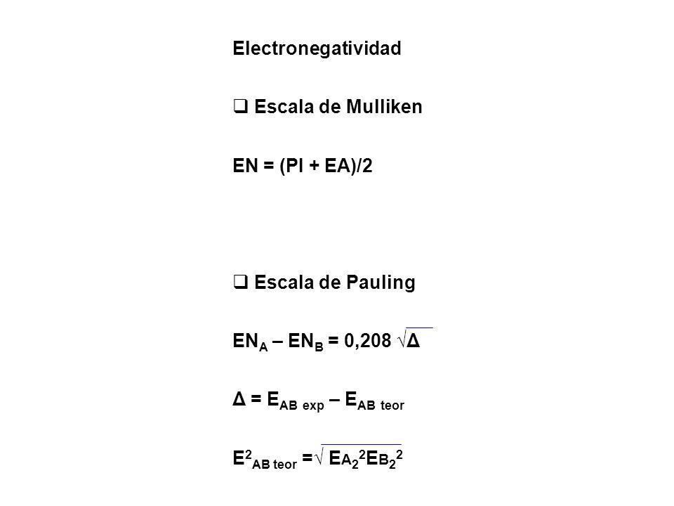 Electronegatividad Escala de Mulliken EN = (PI + EA)/2 Escala de Pauling EN A – EN B = 0,208 Δ Δ = E AB exp – E AB teor E 2 AB teor = E A 2 2 E B 2 2
