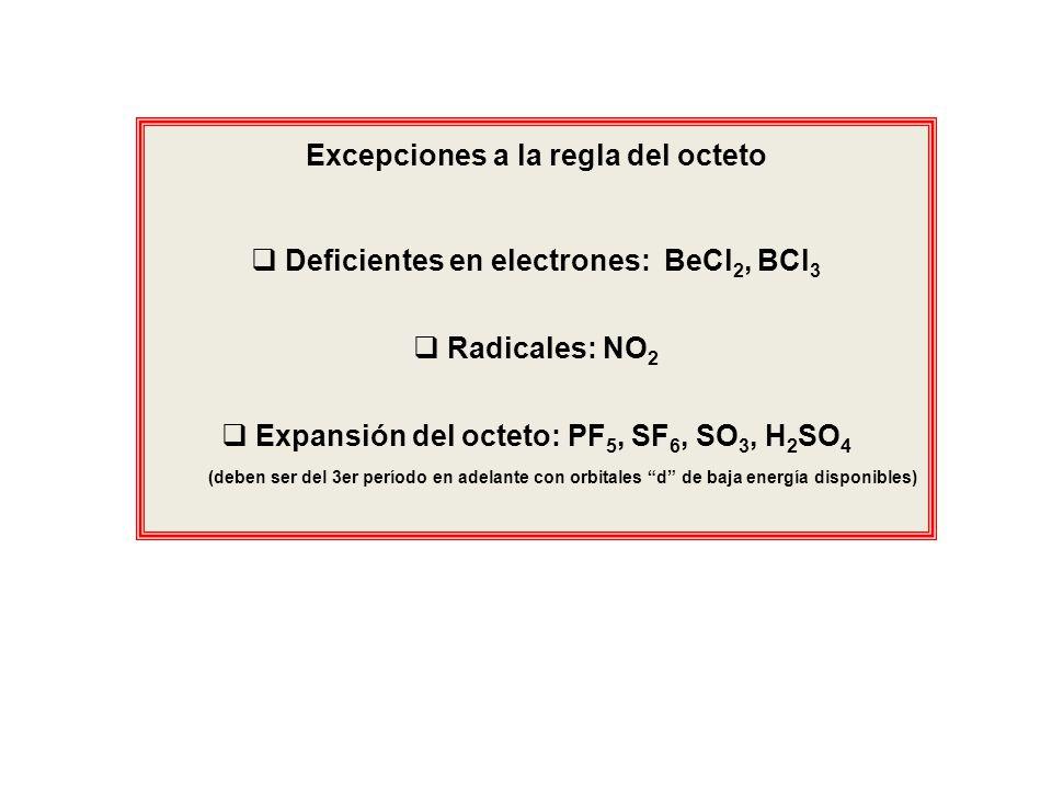 Excepciones a la regla del octeto Deficientes en electrones: BeCl 2, BCl 3 Radicales: NO 2 Expansión del octeto: PF 5, SF 6, SO 3, H 2 SO 4 (deben ser