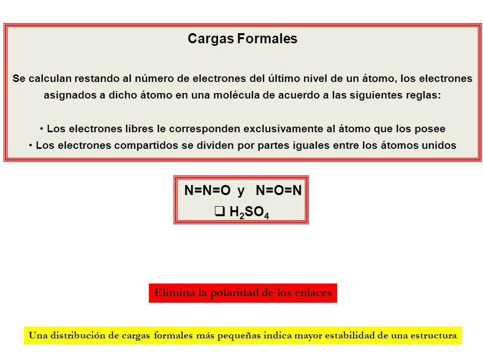 N=N=O y N=O=N H 2 SO 4 Cargas Formales Se calculan restando al número de electrones del último nivel de un átomo, los electrones asignados a dicho áto