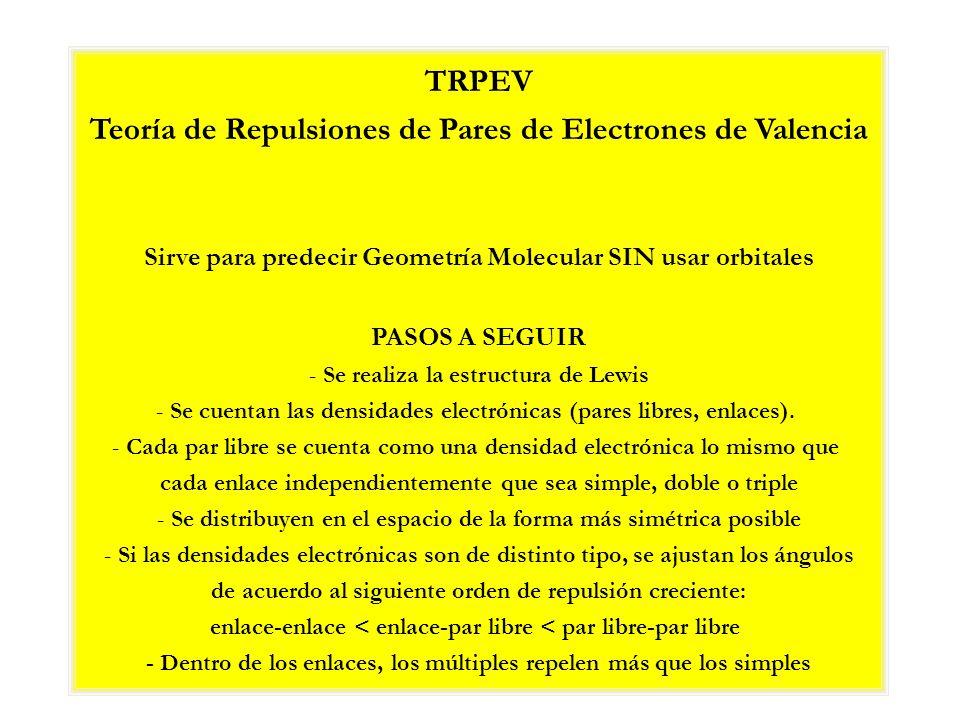 TRPEV Teoría de Repulsiones de Pares de Electrones de Valencia Sirve para predecir Geometría Molecular SIN usar orbitales PASOS A SEGUIR - Se realiza