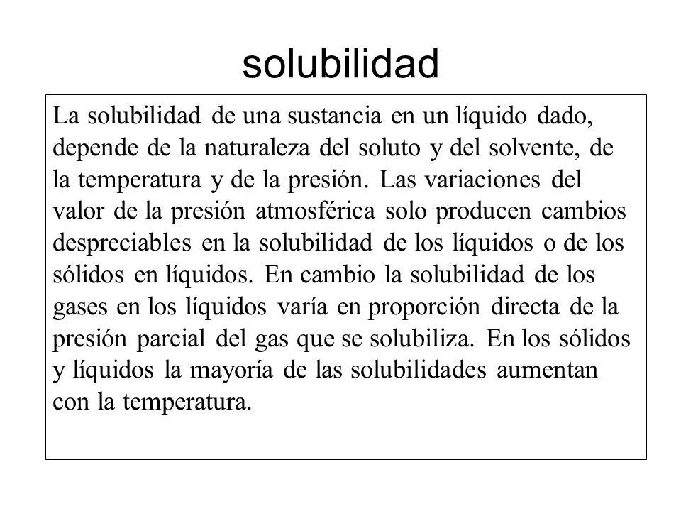 solubilidad La solubilidad de una sustancia en un líquido dado, depende de la naturaleza del soluto y del solvente, de la temperatura y de la presión.