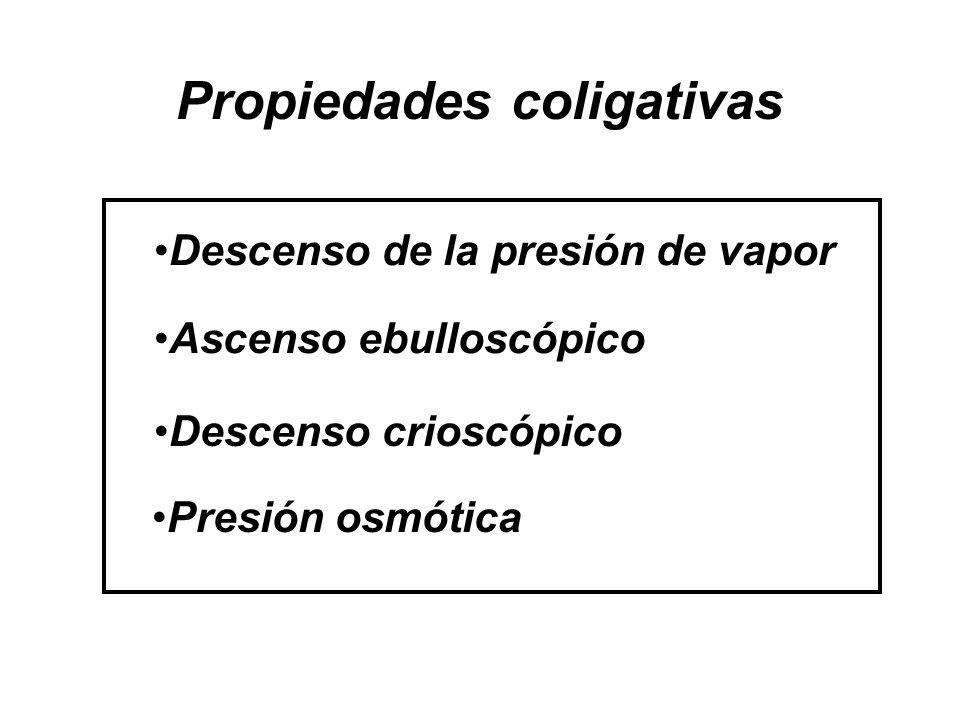 Propiedades coligativas Descenso de la presión de vapor Presión osmótica Descenso crioscópico Ascenso ebulloscópico