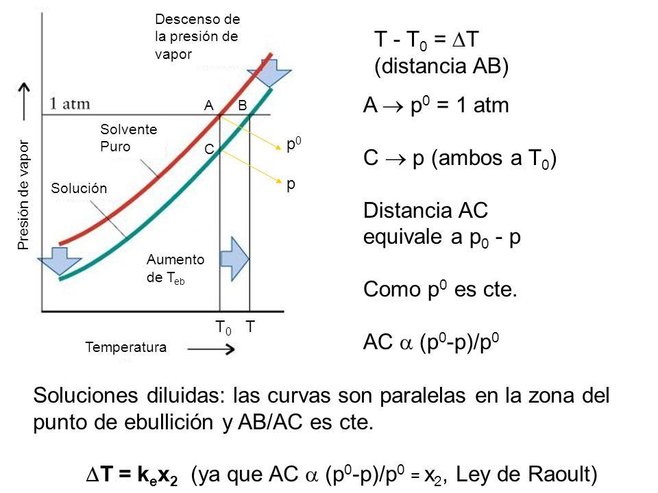 T - T 0 = T (distancia AB) A p 0 = 1 atm C p (ambos a T 0 ) Distancia AC equivale a p 0 - p Como p 0 es cte.