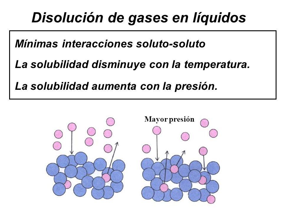 Disolución de gases en líquidos La solubilidad disminuye con la temperatura.