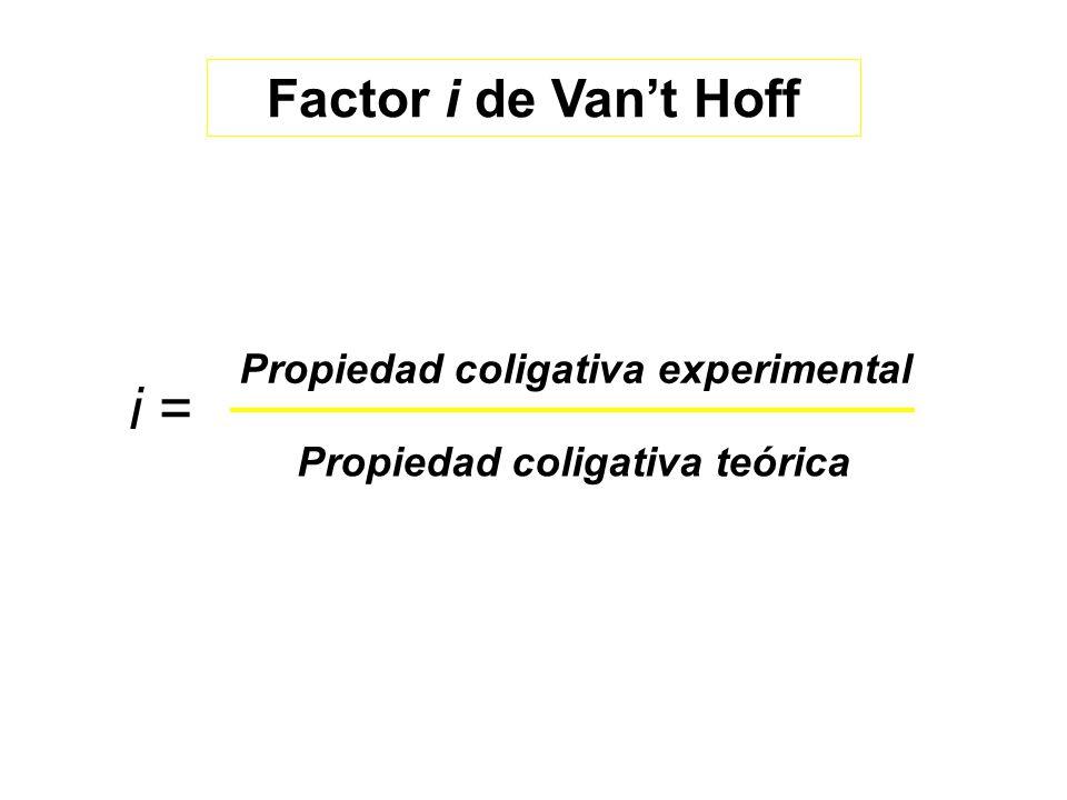 Propiedad coligativa experimental Propiedad coligativa teórica i = Factor i de Vant Hoff