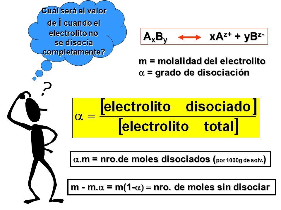 Cuál será el valor de i cuando el electrolito no se disocia completamente.