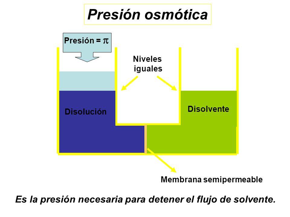 Disolvente Presión = Disolución Membrana semipermeable Niveles iguales Presión osmótica Es la presión necesaria para detener el flujo de solvente.