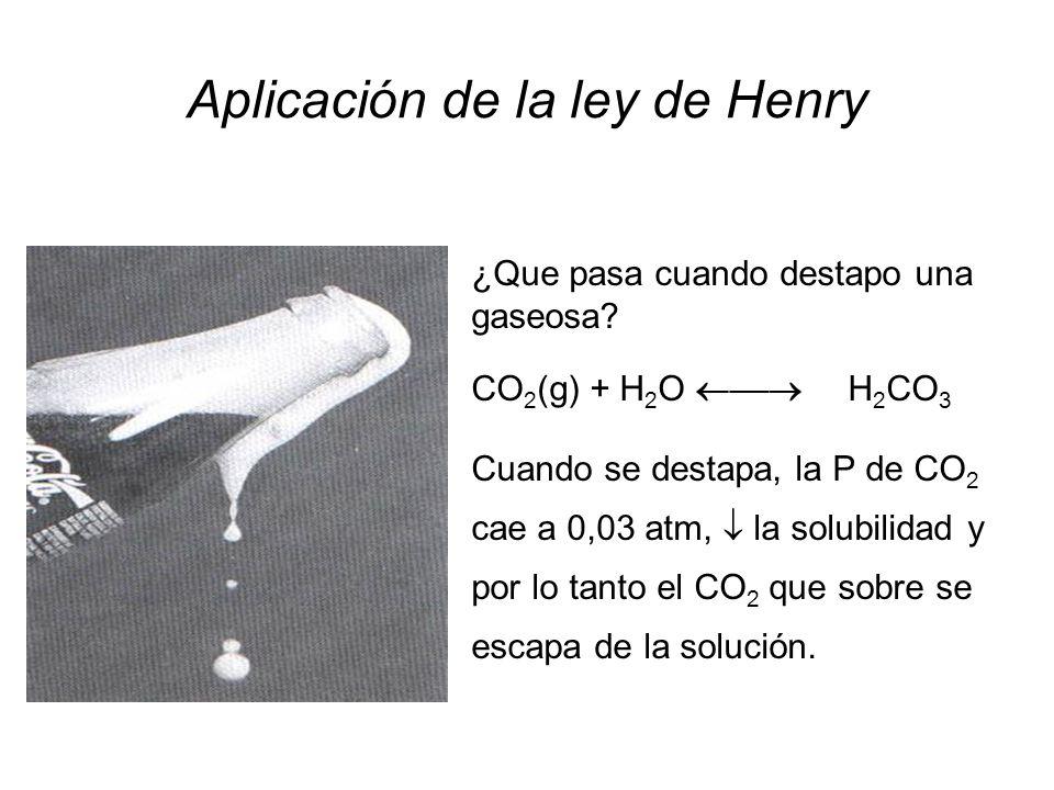 Gases - Solubilidad Solubilidad del CO 2 es 33 mM a 25°C y 1 atm Solubilidad del O 2 es 0.014 mM a 25°C y 1 atm