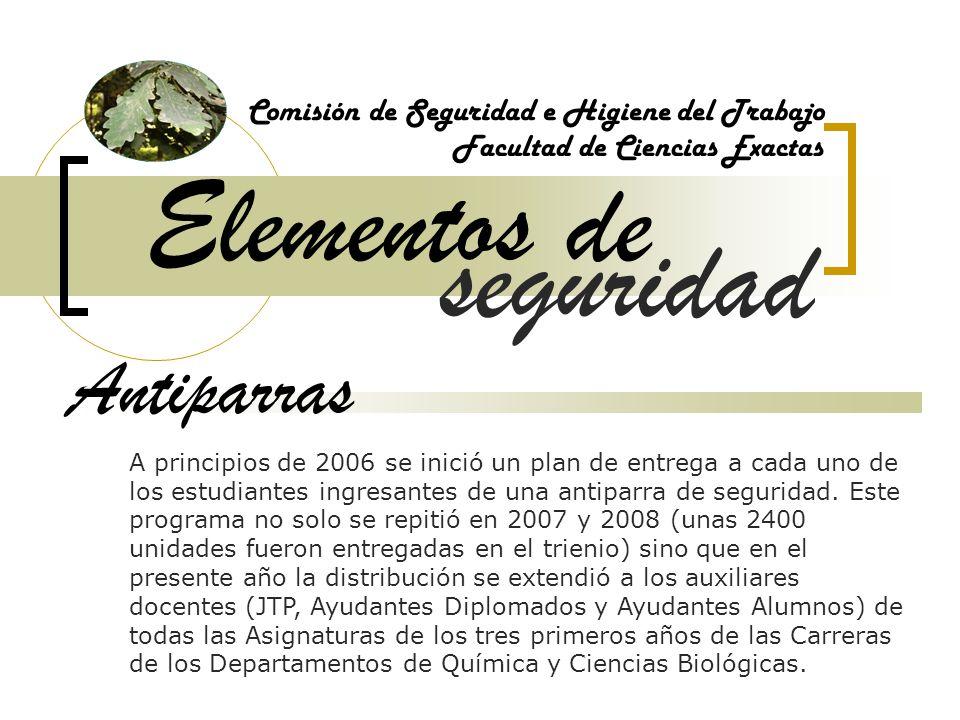 Elementos de Comisión de Seguridad e Higiene del Trabajo Facultad de Ciencias Exactas Antiparras A principios de 2006 se inició un plan de entrega a c