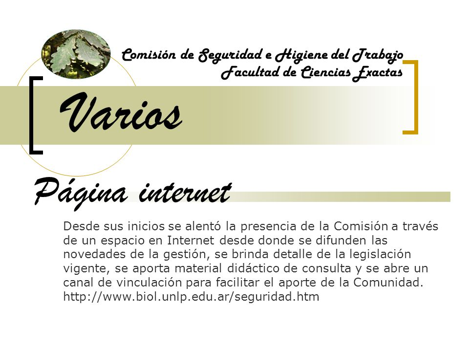 Varios Comisión de Seguridad e Higiene del Trabajo Facultad de Ciencias Exactas Página internet Desde sus inicios se alentó la presencia de la Comisió