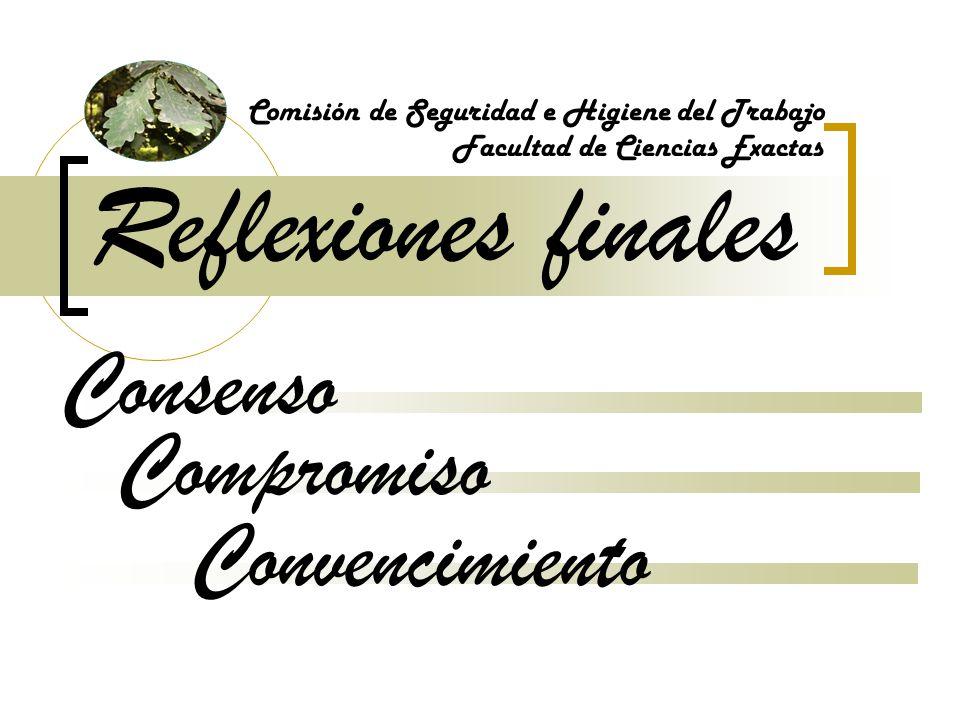 Reflexiones finales Comisión de Seguridad e Higiene del Trabajo Convencimiento Facultad de Ciencias Exactas Consenso Compromiso