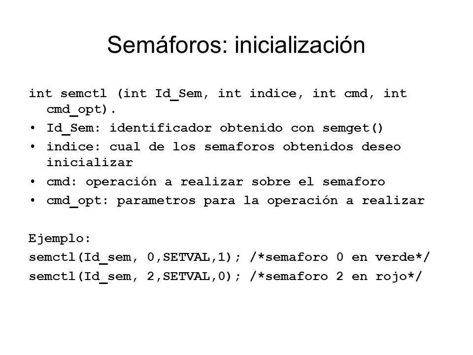 Semáforos: inicialización int semctl (int Id_Sem, int indice, int cmd, int cmd_opt). Id_Sem: identificador obtenido con semget() indice: cual de los s