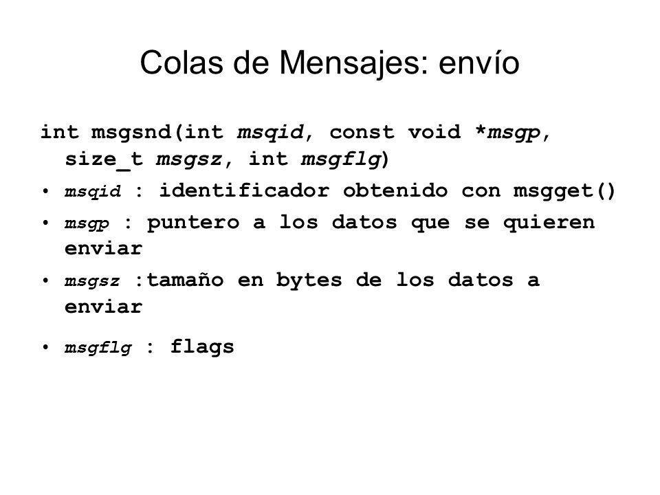 Colas de Mensajes: envío int msgsnd(int msqid, const void *msgp, size_t msgsz, int msgflg) msqid : identificador obtenido con msgget() msgp : puntero