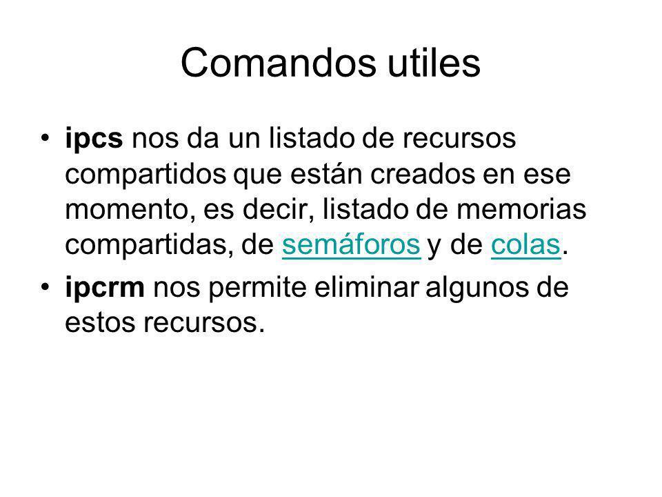 Comandos utiles ipcs nos da un listado de recursos compartidos que están creados en ese momento, es decir, listado de memorias compartidas, de semáfor