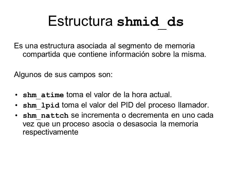 Estructura shmid_ds Es una estructura asociada al segmento de memoria compartida que contiene información sobre la misma. Algunos de sus campos son: s