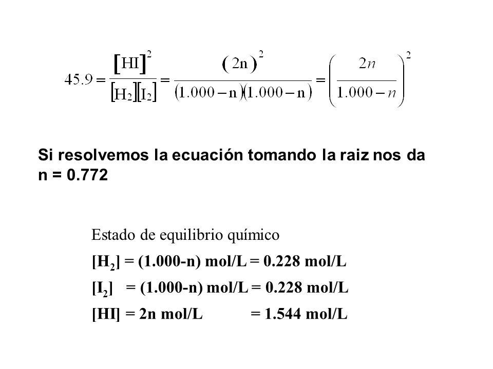 Si resolvemos la ecuación tomando la raiz nos da n = 0.772 Estado de equilibrio químico [H 2 ] = (1.000-n) mol/L = 0.228 mol/L [I 2 ] = (1.000-n) mol/L = 0.228 mol/L [HI] = 2n mol/L = 1.544 mol/L