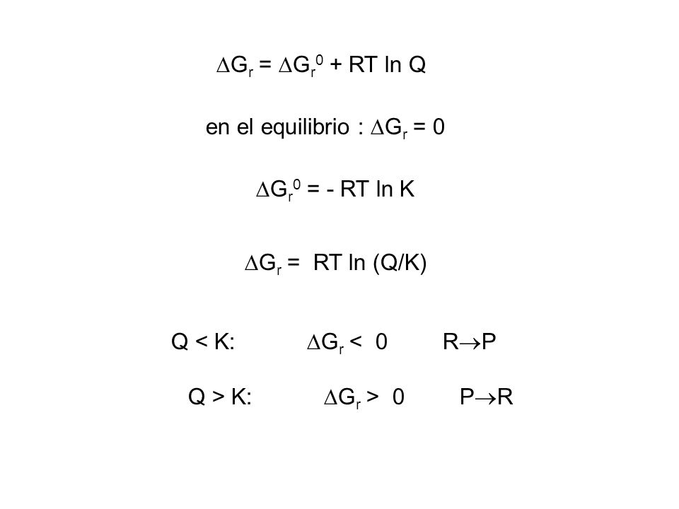 G r = G r 0 + RT ln Q G r 0 = - RT ln K en el equilibrio : G r = 0 G r = RT ln (Q/K) Q < K: G r < 0 R P Q > K: G r > 0 P R