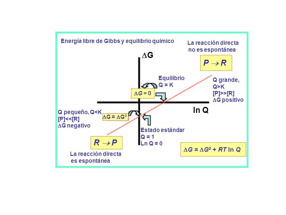 Energía libre de Gibbs y equilibrio químico La reacción directa no es espontánea Equilibrio Q = K Estado estándar Q = 1 Ln Q = 0 Q pequeño, Q<K [P]<<[R] G negativo Q grande, Q>K [P]>>[R] G positivo La reacción directa es espontánea G = G 0 G = G 0 + RT ln Q P R R P G = 0 G ln Q