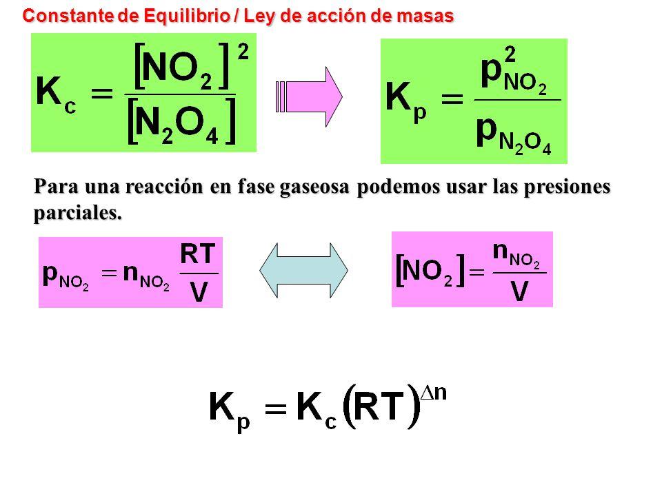 Constante de Equilibrio / Ley de acción de masas Para una reacción en fase gaseosa podemos usar las presiones parciales.