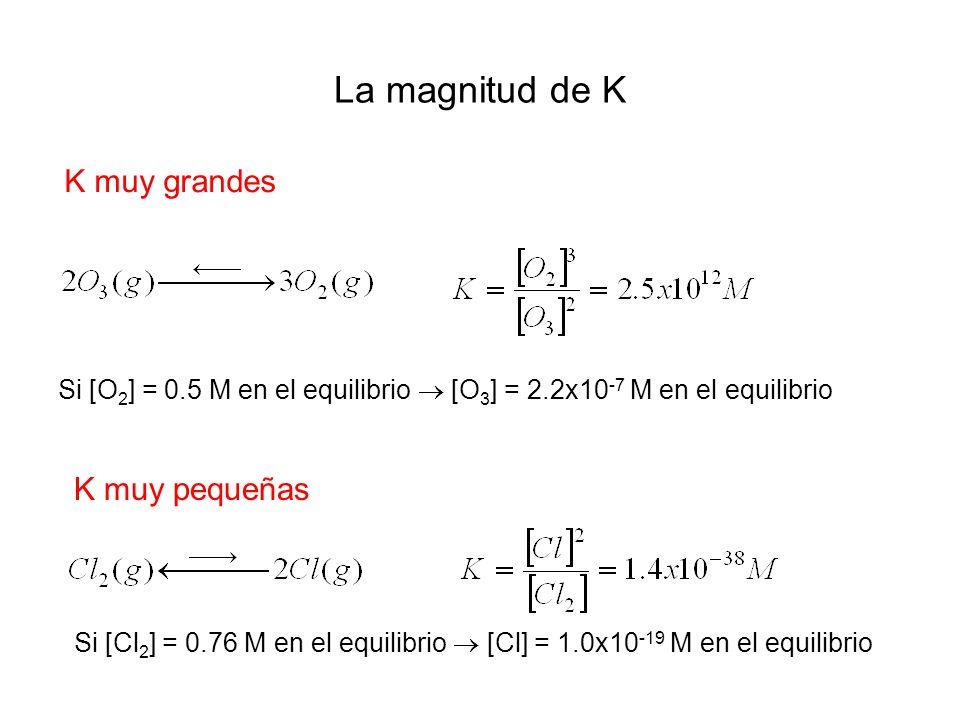 La magnitud de K K muy grandes Si [O 2 ] = 0.5 M en el equilibrio [O 3 ] = 2.2x10 -7 M en el equilibrio K muy pequeñas Si [Cl 2 ] = 0.76 M en el equilibrio [Cl] = 1.0x10 -19 M en el equilibrio
