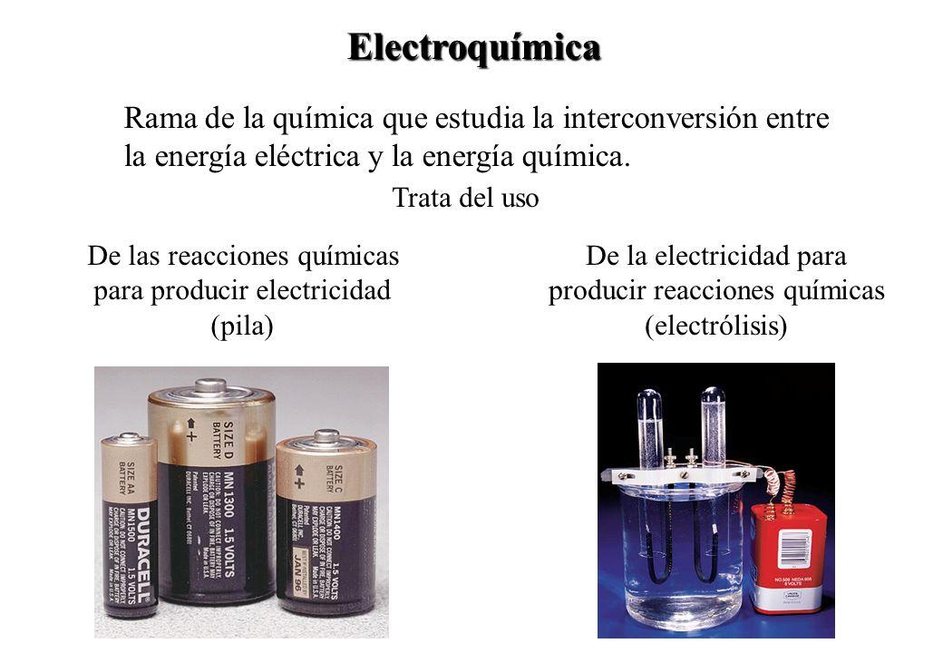Rama de la química que estudia la interconversión entre la energía eléctrica y la energía química. Electroquímica Trata del uso De las reacciones quím