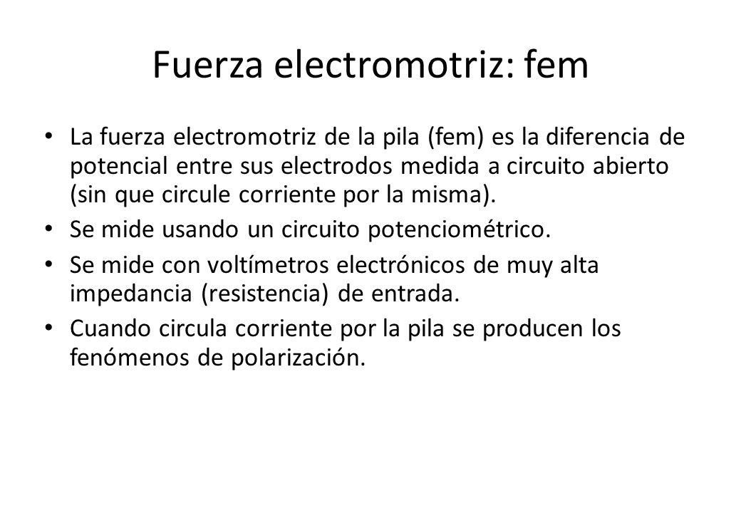 Fuerza electromotriz: fem La fuerza electromotriz de la pila (fem) es la diferencia de potencial entre sus electrodos medida a circuito abierto (sin q