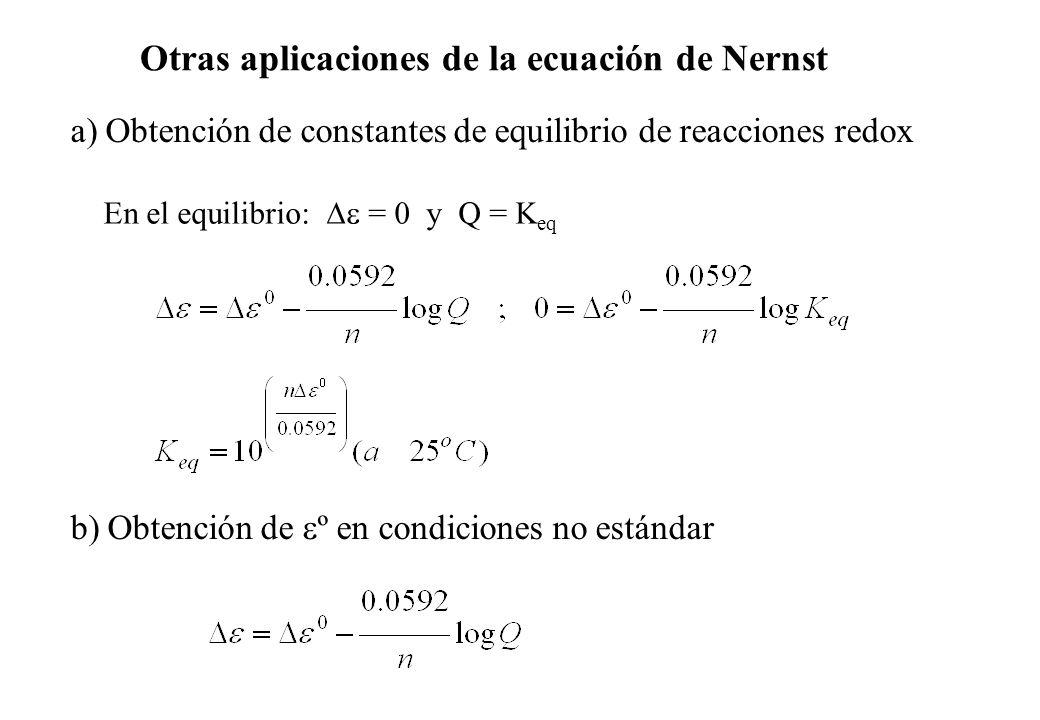 Otras aplicaciones de la ecuación de Nernst a) Obtención de constantes de equilibrio de reacciones redox En el equilibrio: = 0 y Q = K eq b) Obtención