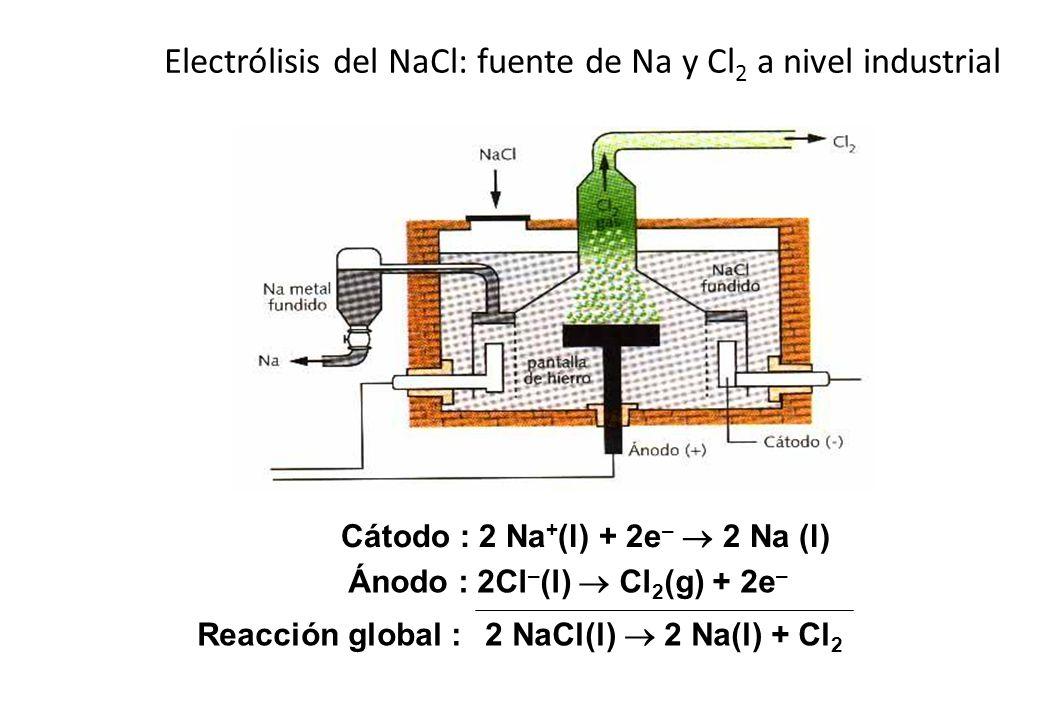 Electrólisis del NaCl: fuente de Na y Cl 2 a nivel industrial Cátodo : 2 Na + (l) + 2e – 2 Na (l) Ánodo : 2Cl – (l) Cl 2 (g) + 2e – Reacción global :2