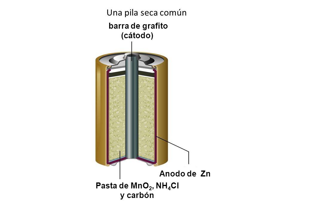 Una pila seca común barra de grafito (cátodo) Anodo de Zn Pasta de MnO 2, NH 4 Cl y carbón