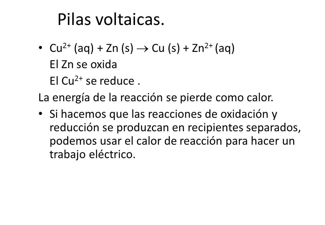 Pilas voltaicas. Cu 2+ (aq) + Zn (s) Cu (s) + Zn 2+ (aq) El Zn se oxida El Cu 2+ se reduce. La energía de la reacción se pierde como calor. Si hacemos