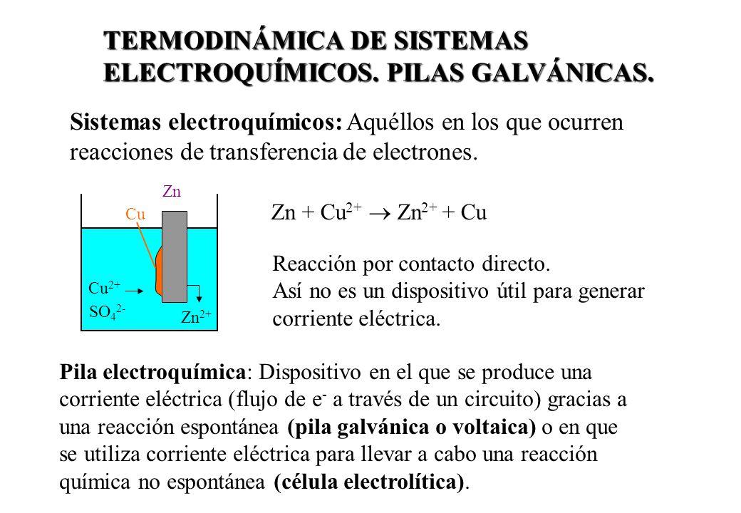 TERMODINÁMICA DE SISTEMAS ELECTROQUÍMICOS. PILAS GALVÁNICAS. Sistemas electroquímicos: Aquéllos en los que ocurren reacciones de transferencia de elec