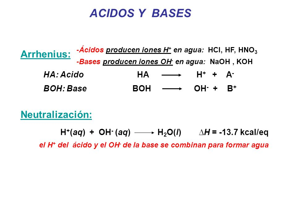ACIDOS Y BASES H + (aq) + OH - (aq) H 2 O(l) H = -13.7 kcal/eq Neutralización: el H + del ácido y el OH - de la base se combinan para formar agua Arrhenius: -Ácidos producen iones H + en agua: HCl, HF, HNO 3 -Bases producen iones OH - en agua: NaOH, KOH HA: Acido HA H + + A - BOH: Base BOH OH - + B +