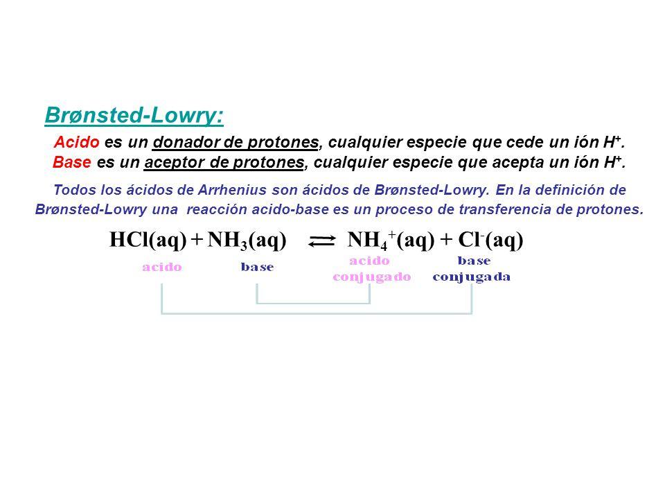 Brønsted-Lowry: Acido es un donador de protones, cualquier especie que cede un ión H +.