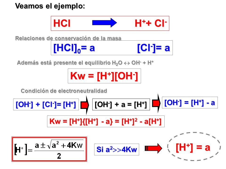 CALCULO DE pH EN SOLUCIONES DE ACIDOS FUERTES Autoionización del agua : despreciable Por ejemplo: HNO 3 0.1 M pH = 1 10 -7 < 0.1 Algunos Acidos Fuerte