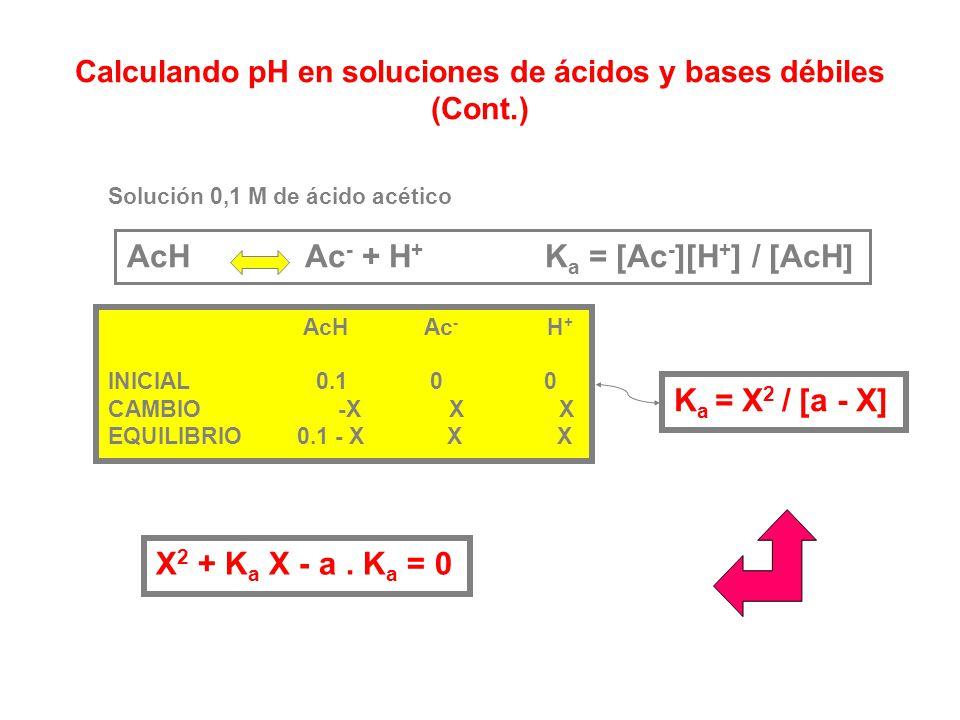 Al resolver el sistema anterior obtenemos una ecuación cúbica en [H + ]: Como resolver esto ? Para el caso de un ácido : [H + ] > [ OH - ] y por lo ta