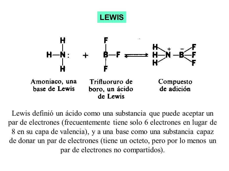 Lewis definió un ácido como una substancia que puede aceptar un par de electrones (frecuentemente tiene solo 6 electrones en lugar de 8 en su capa de valencia), y a una base como una substancia capaz de donar un par de electrones (tiene un octeto, pero por lo menos un par de electrones no compartidos).