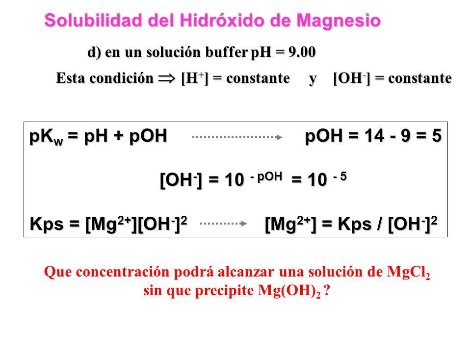 Solubilidad del Hidróxido de Magnesio Solubilidad del Hidróxido de Magnesio c) Tenemos una solución de MgCl 2 0.05M MgCl 2 Mg 2+ + 2 Cl - Cuánto Mg(OH