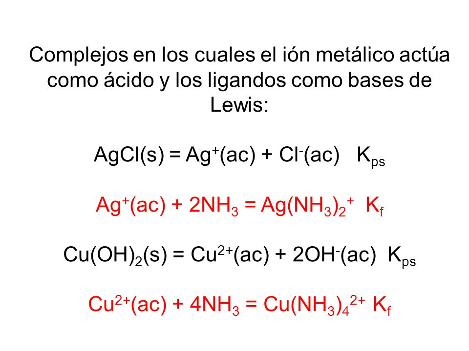 Factores que afectan la solubilidad: formación de complejos Constantes de formación para algunos complejos iónicos de metales en agua a 25 o C Ión com