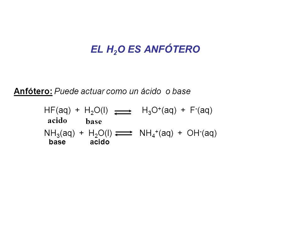 EL H 2 O ES ANFÓTERO Anfótero: Puede actuar como un ácido o base HF(aq) + H 2 O(l) H 3 O + (aq) + F - (aq) NH 3 (aq) + H 2 O(l) NH 4 + (aq) + OH - (aq) acido base acido